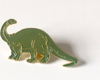 VINTAGE DINOSAUR BADGE diplodocus enamel pin 80s / 90s
