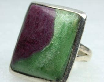 Purple Green Zoisite Square Cabachon Bezel Set Sterling Silver Ring Size: V 1/2-11