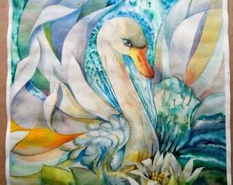 Original Watercolor Painting,Original Artwork,swan painting,watercolor bird,countryside,Lake swans,lake paintings,waterscapes,Perfect Gift