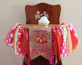 One Little Pumpkin Girl First Birthday High Chair Banner/Cake Smash Photo Shoot Prop/Fall Birthday Party Decor/Pink Orange and Green