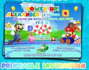 SUPER MARIO pool party INVITATION,Super Mario Bros party,Super Mario invites,Mario and Luigi invitations,Pool Party birthday printable,Mario