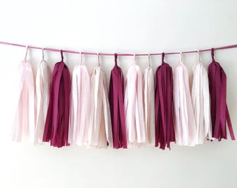 Burgundy Blush Tissue Paper Tassel Garland Burgundy Wedding Banner Balloon Tassel Burgundy Pink Birthday Backdrop Party Decor Bridal Shower