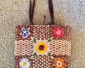 VINTAGE-RETRO 70's Throwback Charter Club Woven Floral Tote