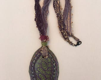 Polymer Clay Necklace - Purple and Lime Green