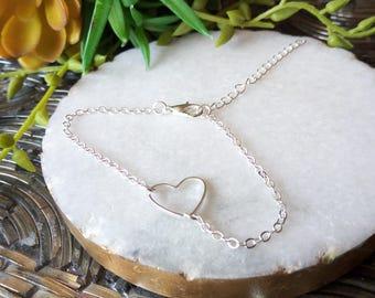 Silver Hollow Heart Adjustable Bracelet