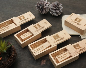 5 PACK- Maple Wood USB Box & USB Flash Drive Set- Custom Engraving Included