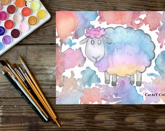 Instant download, original watercolor, colored sheep illustration