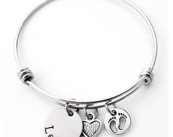 Baby Footprints Heart & Name Bangle - Custom - Personalized Mom's - New Mom - Bangle Bracelet - Baby Shower - Gifts
