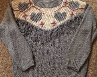 one-of-a-kind! 80s vintage light blue hearts-all-over fringe decorated hand-knit oversized mock-neck pullover sweater