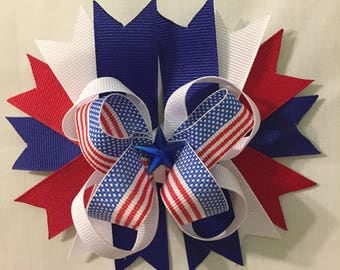 Star Embellished Patriotic Hair Bow