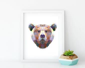 Geometric Bear Wall Art, Geometric Bear Print, Childrens Print, Geometric Art, Triangle Print, Animal Nursery Art, Geometric Animal