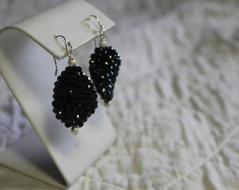 Blck wave shaped textured bead, silver beads, silver ear wires