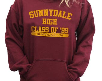 SUNNYDALE High Class Of '99 College Hoodie Jumper - Buffy The Vampire Slayer Anniversary Sweater