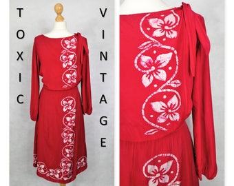 VINTAGE 1970s 1980s Red TROPICAL Floral Dress, Uk 12, Retro, Boho, Pretty, Cute, Chic, Vacation, Bali