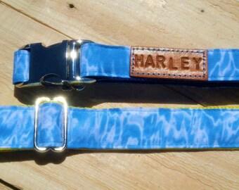 Water print collar, summer dog collar, blue dog collar, water, blue, summer, small dog collar, big dog collar