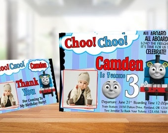 Thomas The Train Invitation / Thomas The Train Birthday / Thomas The Train Birthday Invitation / Thomas Train Party / Free Thank You Tag