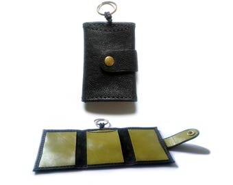 Black and olive green leather key case holder with interior card