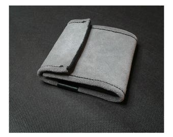 Wallet leather gray and black stitching