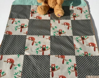 Baby blanket, gender neutral,  patchwork blanket, pinky, bush baby blanket, christening present, free shipping