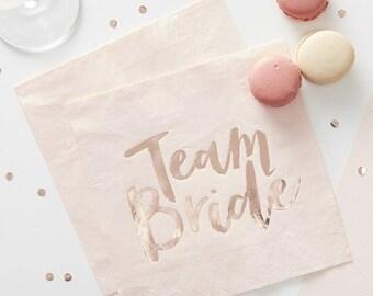Team Bride Party Napkins, Blush Paper Napkins, Rose Gold Party Napkins, Bachelorette Party Napkins, Bridal Shower Napkins, Serviettes, Blush