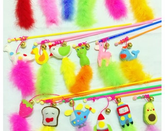Interactive feather teaser wand cat toy