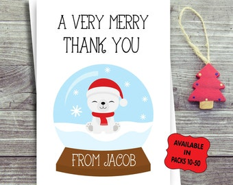Packs of Personalised Children's Christmas Thank You Cards
