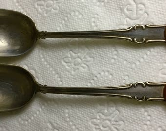 Vintage  a pair of silver teaspoons inlaid with amber 875*