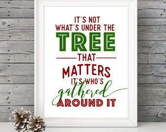 It's Not What's Under the Tree That Matters- GOLD- 11x14 Christmas Holiday Home Decor Poster- Christmas Decoration- PRINT