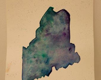 State of Maine in Watercolor Artwork