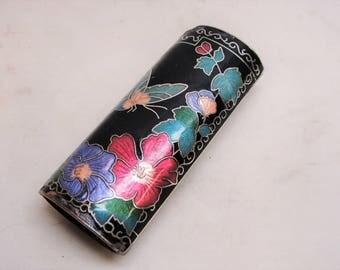 Enameled Floral Design Bic Lighter Case
