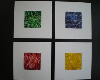 Set of 4 abstract primary colour  original encaustic wax art greetings card