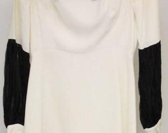 1960s Black and White bow tie dress Sz S