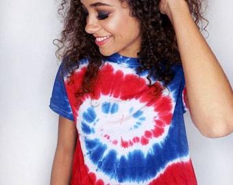 Fourth of July Tie Dye Tshirt • Tiedye Shirt • Women's Tie Dye Shirt • 4th of July Tshirt « CD100spiral « (cropped, crew, td tee) «
