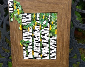 Gift to darling. Handmade mosaic picture Birch.Mosaic Wall Art. Ready to Hang, Colorful Glass Art.