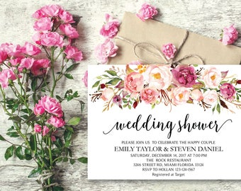 Wedding Shower Invitation, Fun Floral Bridal Shower Card, Couples Shower Invite, Editable Card Printable Instant Download, Wedding Shower 19
