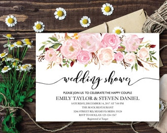Wedding Shower Invitation, Fall Floral Bridal Shower Card, Couples Shower Invite, Wedding shower, Wedding invitation template, Folwer WS-04