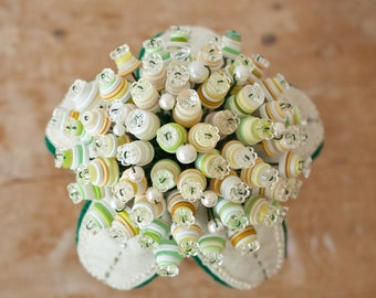 Button Bouquet with beaded felt leaves and lace wrapped handle