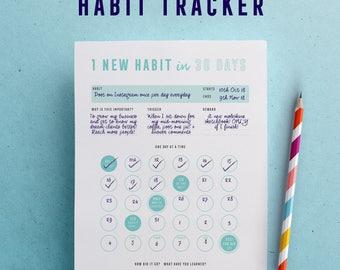 Habit tracker printable, 30 day challenge, printable planner inserts, digital downloads, goal setting, PDF, A4, USLETTER, A5
