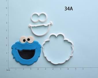 Cookie MonsterFondantCutterCookie MonsterCookieCutterCookie MonsterGiftCookie MonsterPartyCookie MonsterBirthdayGift