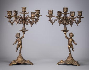 "14"" Pair of Vintage Baroque Candelabras Bronzed Metal Bronze Brass 5 Tier Candle Holders"