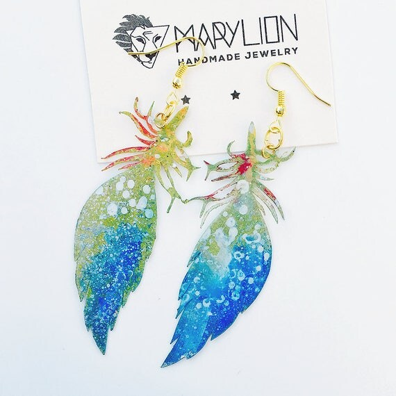 Feather airy earrings - Feather drops earrings - Trending jewelry - Feather jewelry - Rockabilly Jewelry -  Feathery light fashion earrings