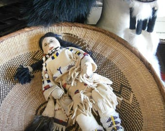 American Indian Doll, Native American inspired artist doll, ooak traditional unique collectors doll, handmade, beaded deerleather doll