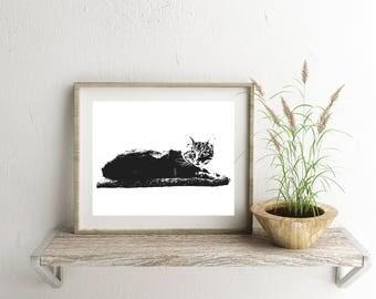 Cat Print, Cat Wall Art, Cat Gifts For Women, Cat Gifts, Cat Silhouette Art, Cat Art