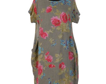 Just Arrived!!Free Shipping!! Linen Short Sleeve Floral Tunic Top with pockets - One Size  -Khaki