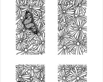 Daisies and Butterfly Panel Door - Furniture Decoration
