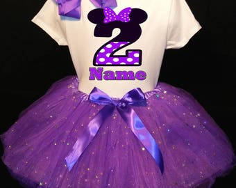 Minnie Mouse***With NAME*** 2nd Second 2 Birthday  Purple Tutu Dress Fast Shipping party Shirt Personalized