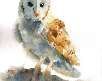 Owl painting , original watercolor art , watercolor owl , owl painting 8*10 inches