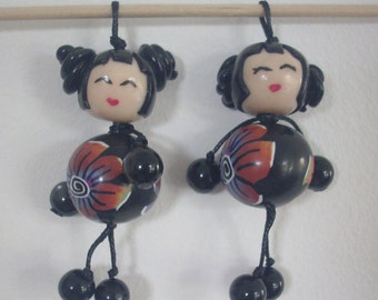 2 pendant 6.5 cm - polymer clay creation - kokeshi dolls