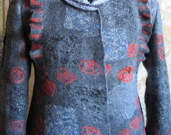 ECO style and boho chic fashion felted jacket from premium wool. Куртка валяная женская. Jacket valyany. Jacket felt.