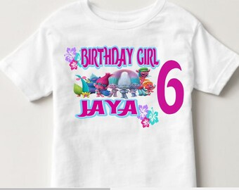 Girl's Trolls Birthday Shirt - Custom  Birthday Shirt - Trolls Birthday Shirt - Princess Birthday Party - Trolls Poppy Shirt - Trolls